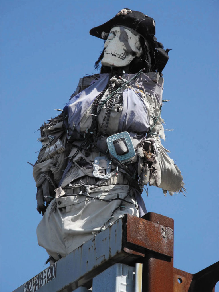 Lakeside Recycling, located near Jack London Square, displays intriguing sculptures of recycled material, including a decidedly female pirate presiding over the entrance.