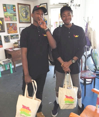 Khalil Kelly and Onynex Johnson are creating art and working to expand art sales for Youth Spirit Artworks in Berkelely. Brandon Pritzkat photo