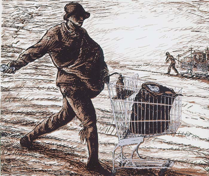 The Aluminum Harvester, an artistic work by Jos Sances, updates Millet's classic painting, depicting the fruitful labor of the shopping cart recycler.