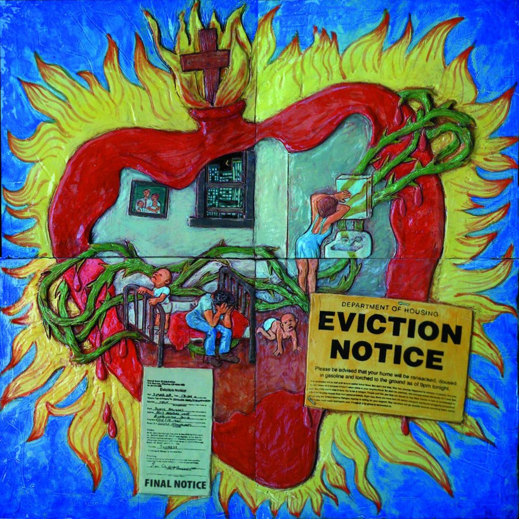 The harmful impact of an eviction notice on the human heart. Art by Jos Sances