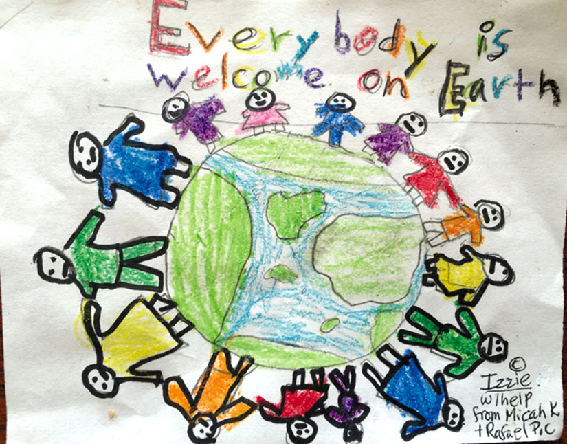 """Everybody Is Welcome on Earth."" Art by Izzie with help from Micah and Rafael"