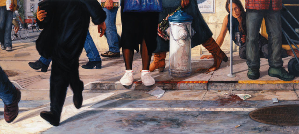 """""""Faux Street Revisited."""" The viewpoint of a homeless woman on a San Francisco street, as people hurry past and an entire city ignores her plight. Painting by Christine Hanlon"""