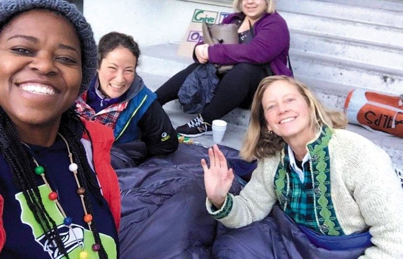 Sally Hindman (at right) organized a sleep-out at Old City Hall last winter in protest of Berkeley's anti-homeless laws. A longtime homeless advocate and an original co-founder of Street Spirit, Hindman is now deeply involved in the campaign to save the paper.