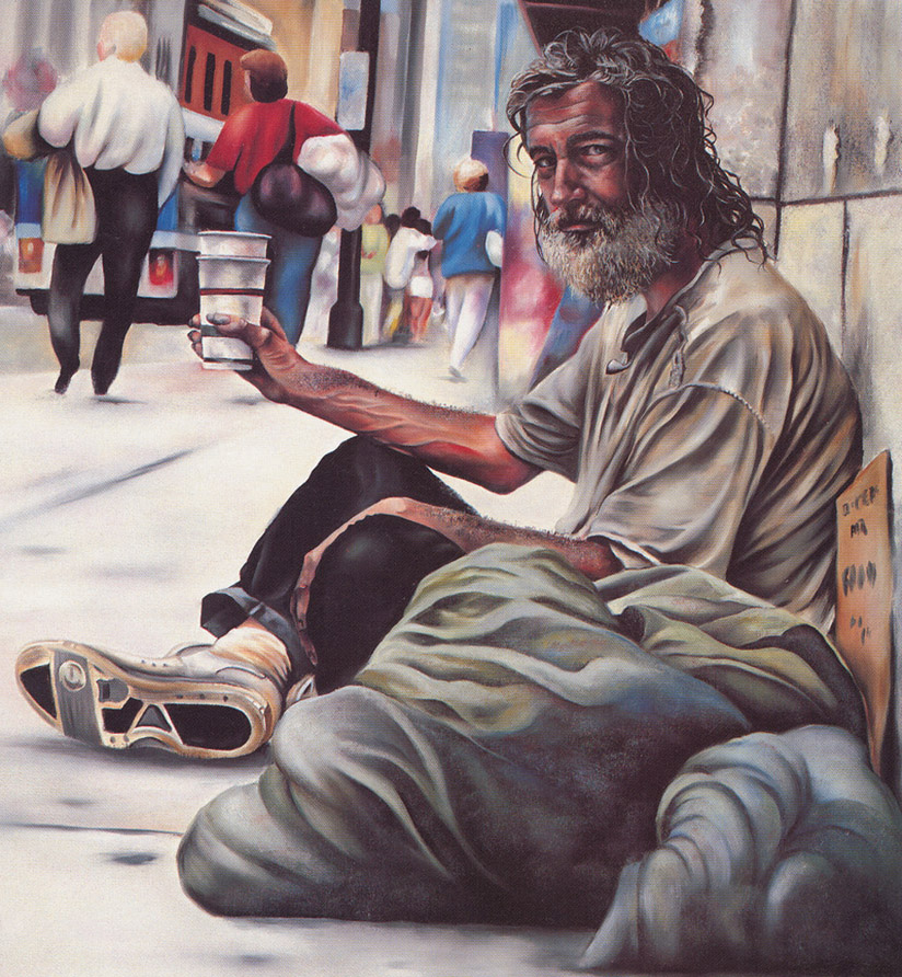 Franciscan monks were penniless mendicants who prayed and begged for alms. In Buddhism, begging is considered an honorable tradition. Art by National Coalition for the Homeless.