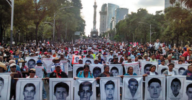 The disappearance of 43 students from Ayotzinapa have sparked large demonstrations across Latin America in the last 2 years. Demonstrators have marched on Mexican embassies, displaying the photographs of the 43 disappeared students.