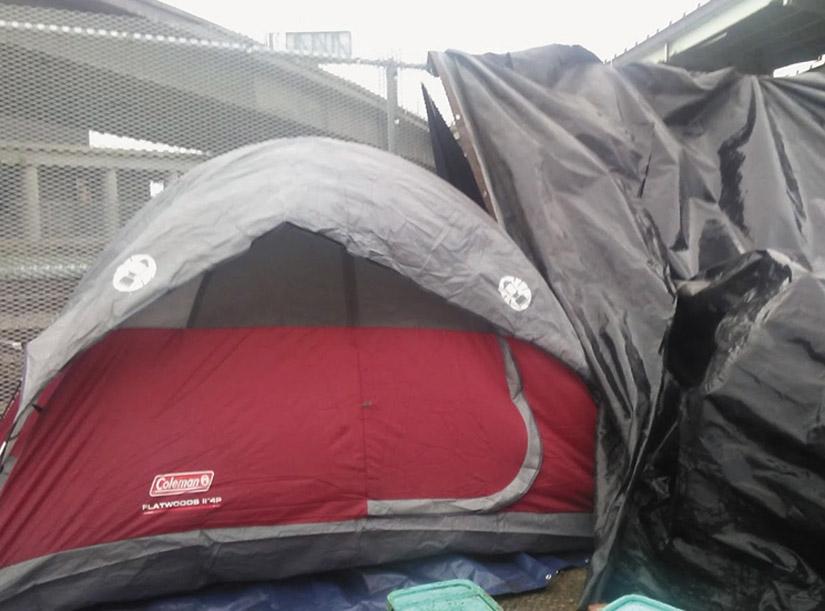 Miss Raynel's tent near the railroad tracks in West Oakland. Wanda Sabir photo