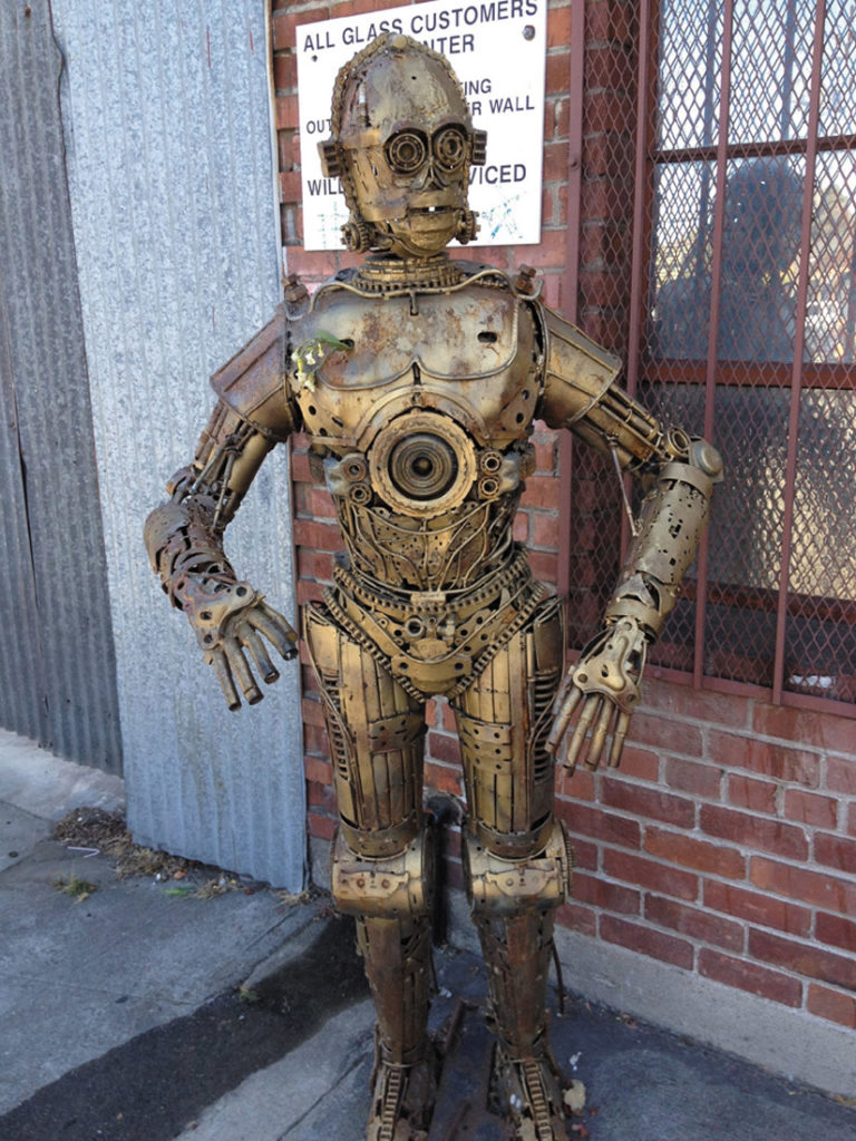 This Star Wars android stood outside the entrance to Alliance, greeting the recyclers on their daily rounds for all those years. Denise Zmekhol photo